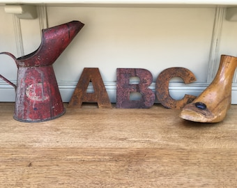 """Rusty 5"""" metal alphabet letters, shop signage, initials, house name, rusted lettering , industrial, vintage, numbers, barbers, home, love,"""