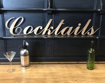 GOLD COCKTAILS SIGN , metal Lettering , metal  Letters  , bar Sign , Metal lettering , Shop sign , Home bar , wedding present , wedding gift