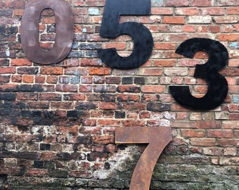 Giant XL Metal Black or Rusty House Door Wall Number Sign vintage Rustic Classic