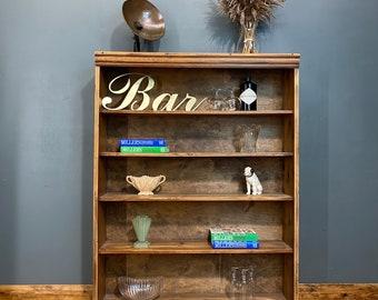 Vintage pine Bookcase / Rustic Shelving Unit / Pine Shelves  / Display unit