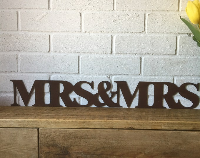 Rusty MRS & MRS Lettering Letters Sign Metal Home Vintage and Rustic Wedding