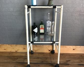 Cocktail Trolley / Drinks Trolley / Vintage Cocktail Trolley / Vintage Medical Trolley / Glass Trolley