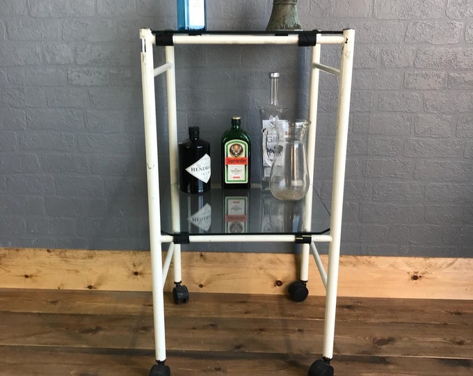 Cocktail Trolley / Drinks Trolley / Vintage Cocktail Trolley / Vintage Medical Trolley / Glass Trolley