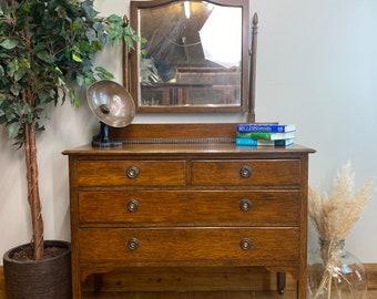 Antique Oak Chest Of Drawers / Bedroom Dresser / Oak Dressing Table  / Mirrored
