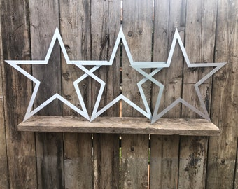 SPECIAL OFFER , 3 Big Galvanised Metal barn STARS Garden Ornaments ,  garden decorations  , wall  or fence decorations , rustic garden decor