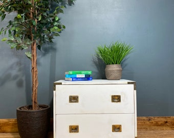 Vintage Chest Of Drawers / Painted Retro Drawers/ Rustic Chest Of Drawers /White