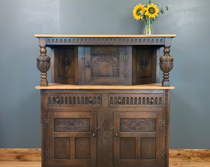 Antique Oak Sideboard / Court Cupboard / Buffet Server / Rustic Cocktail Cabinet