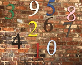 "5"" and 12"" funky coloured HOUSE NUMBERS  shop signage, initials,name, lettering, industrial, vintage, home, love,"