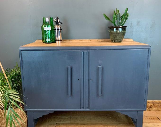 Vintage Cupboard Drawers Sideboard Painted Dark Blue Rustic Drink Cabinet Buffet