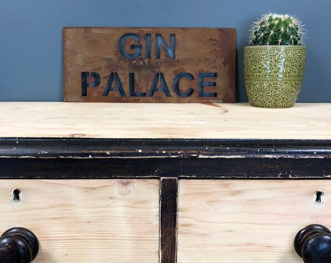 Rusted GIN PALACE Plaque Word Sign Metal Shop Home Rustic Pub Cafe Bar Cocktails Drinks