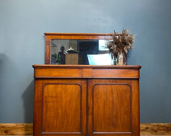 Antique Chiffonier Sideboard / Mirror Back Buffet Server / Victorian Mahogany