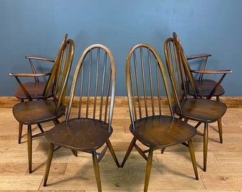 6 Ercol Windsor Quaker Dining Chairs / Mid Century / Ercol Retro Chairs / Carver
