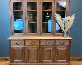 Large Vintage Pine Dresser / Rustic Pine Kitchen Dresser /Glazed Display Cabinet