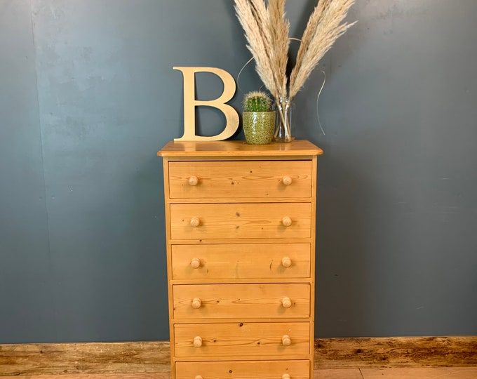 Pine Chest Of Drawers / Tall Drawers / Rustic Drawers / Bedroom Storage / B