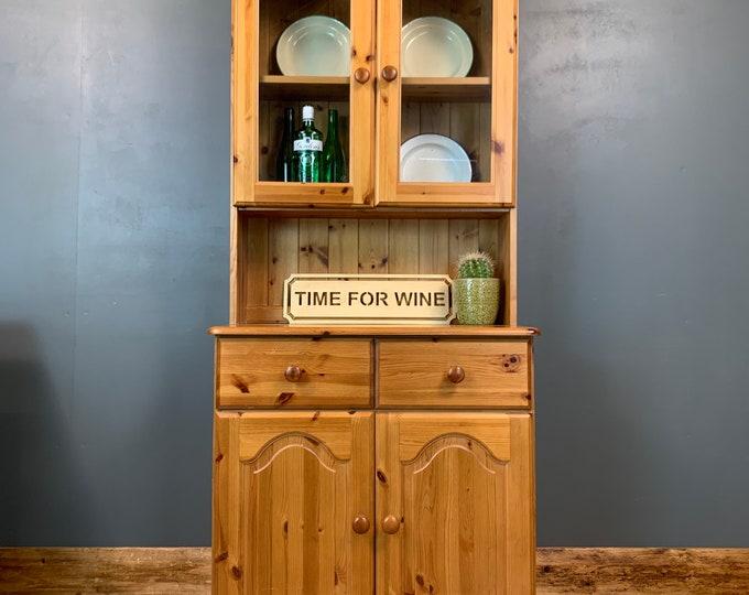 Vintage Pine Dresser / Pine Bookcase /  Kitchen Dresser / Rustic Cupboard
