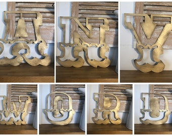 """GOLD LETTERS , metal lettering , metal letters ,  rustic letters ,  A-Z  , Rustic sign , 5"""" or 12"""" , fairground letters, CARNIVAL letters ,"""