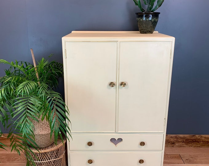 Vintage Painted Tallboy Cupboard Shelves Storage Shabby Chic Rustic Unit Yellow
