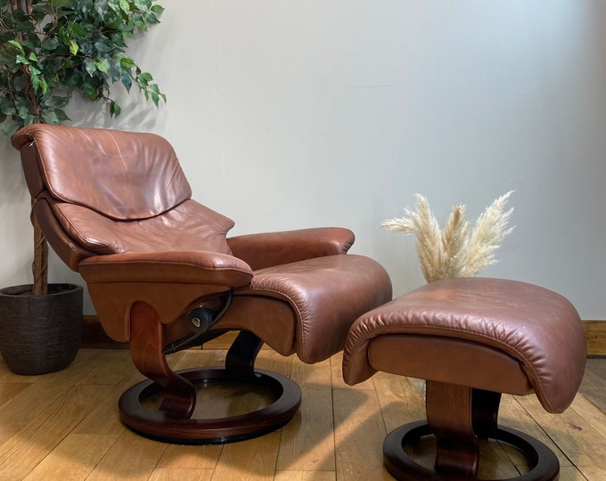 Vintage Ekornes Stressless Brown Leather Reclining Armchair And Footstool / leather armchair / recliner