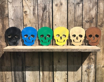 GARDEN GIFTS , coloured SKULL Sign , Metal skeleton decoration , Home or Garden features , Wall decor , Halloween decorations , pirate ship