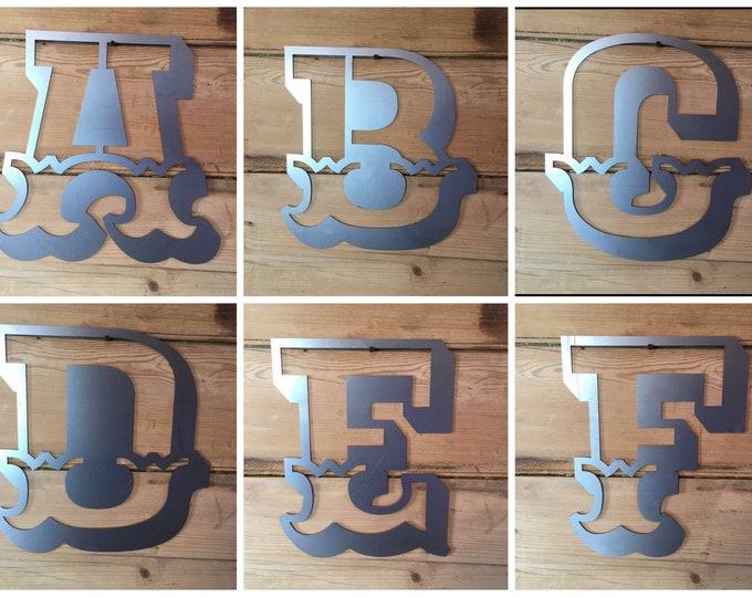 """A-Z Steel 12"""" carnival font metal alphabet letters, shop signage, rustic lettering,bbq sign , garden bar sign , home bar sign ,"""
