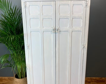 Vintage Painted Cupboard Storage Shabby Chic Rustic Wardrobe Distressed White