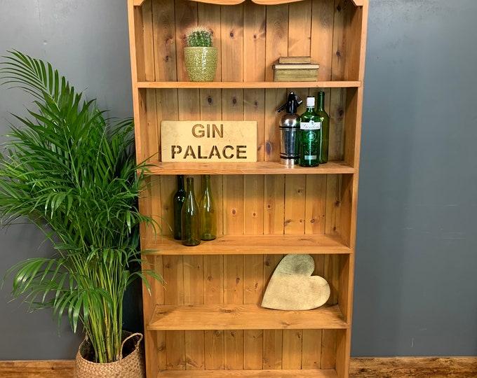 Rustic Tall Vintage Bookcase Shelves Shelving Storage Pine Cocktail Bar