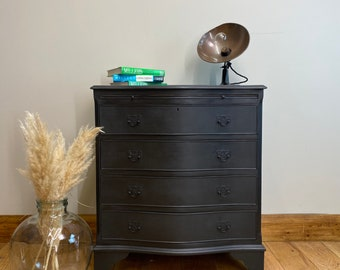Vintage Chest Of Drawers / Painted Drawers / Black Chest Of Drawers / Storage