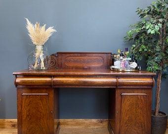 Antique Twin Pedestal Sideboard / Mahogany Buffet Server / Victorian Cupboard