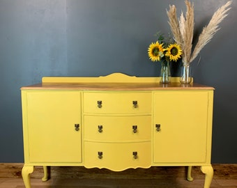 Vintage Painted Upcycled Shabby Chic Sideboard Cabinet Cupboard Drawers Yellow