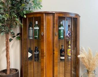 Vintage China Cabinet / Cocktail Cabinet /Glazed Walnut Display /Demi Lune