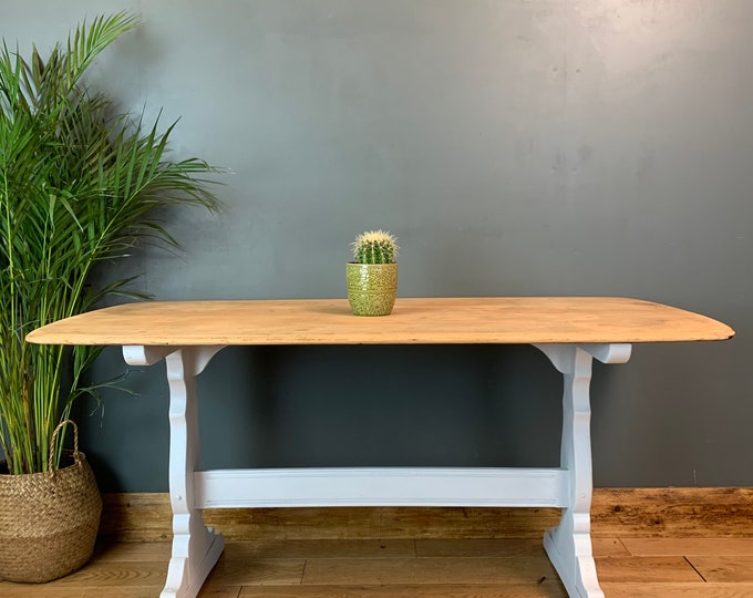 Rustic Rectangle Retro Ercol Elm refectory Table KItchen Dining Painted White