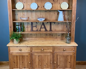 Vintage Large Pine Dresser / Rustic Pine Kitchen Display/ Kitchen Cupboard