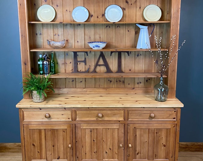 Vintage Large Pine Dresser / Rustic Pine Kitchen Display/ Kitchen Cupboard