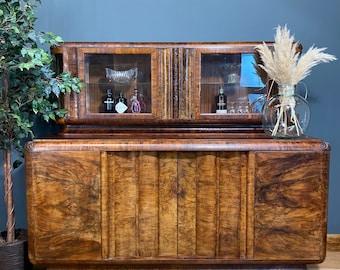 Antique Buffet Server / Art Deco Sideboard / Burlwood Sideboard /  Walnut Sideboard / Art Deco China Cabinet/ Cocktail Cabinet / Home Bar