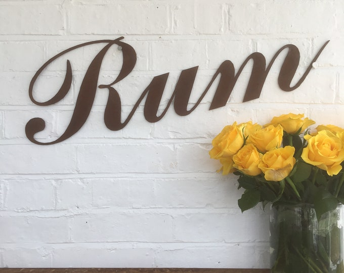 Rusty RUM Lettering Letters Sign Metal Shop Front Home bar Pub Man Cave Cafe