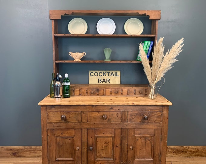 Vintage Pine Dresser / Rustic Pine Kitchen Dresser / Kitchen Cupboard / Display