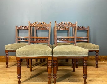 Antique Mahogany Dining Chairs / Victorian Dining Chairs /set Of Six