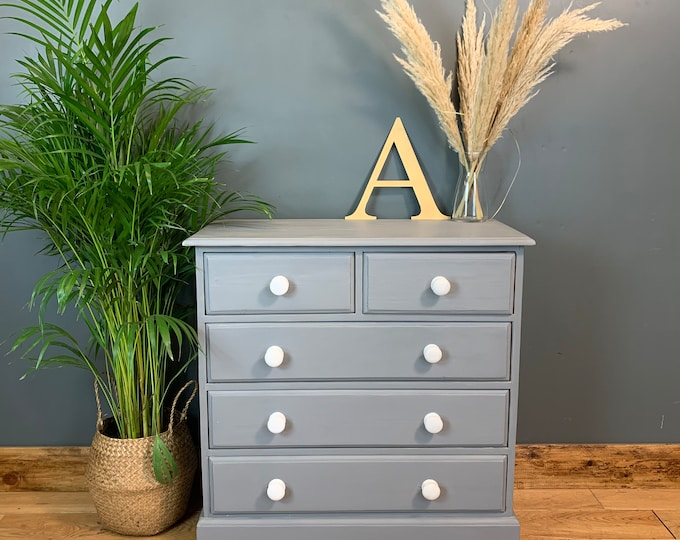 Vintage Upcycled Shabby Chic Chest Of Drawers Painted Light Blue Grey Boho Pine