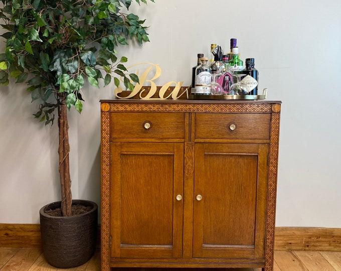 Vintage Oak Sideboard /Oak Cupboard / Rustic Home Bar / Cocktail Cabinet/