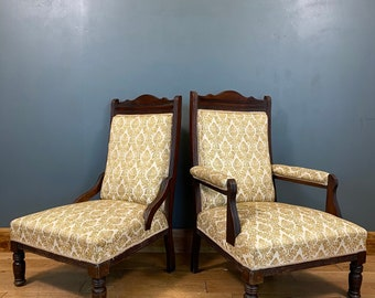 Antique Pair Of Parlour Chairs /  His And Hers Edwardian Armchairs / Mahogany