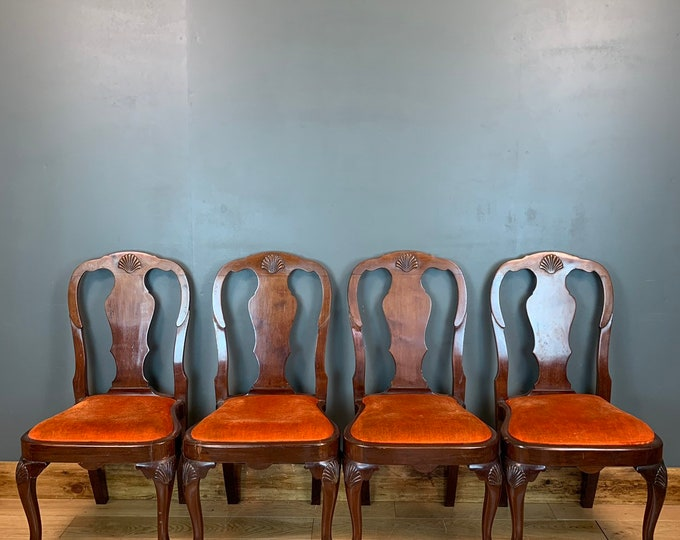 Set Of Four Antique Solid Mahogany Chairs Stools Seat Seating Dining Chippendale