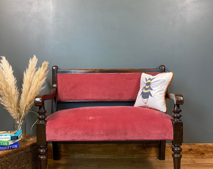 Antique Victorian Bench / Billiards Bench / Oak hallway Bench / Seating