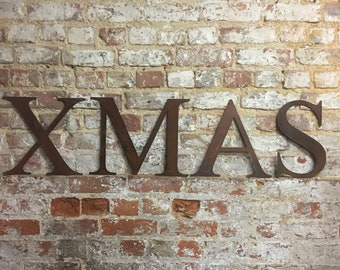 Rustic XMAS Letters Sign Metal Shabby chic Christmas decoration Home Shop bar