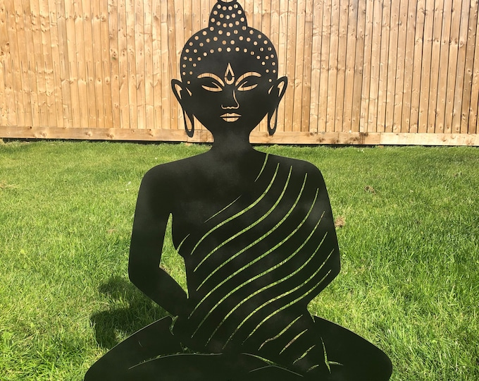 BLACK METAL BUDDHA Garden ornament , rustic garden decoration , Buddha Silhouette , Garden Feature ,  buddha statue , lawn decor