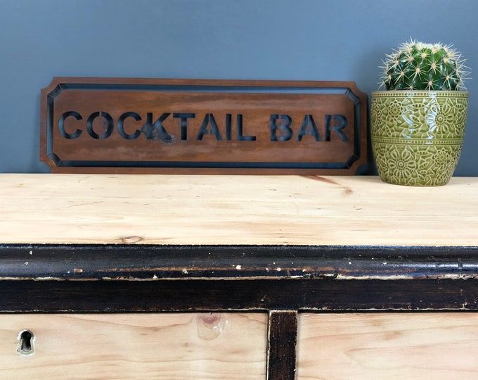 Rustic sign , COCKTAIL BAR SIGN , Home bar , christmas present , birthday gift , for him , for her , drinks sign , bar sign , gin bar ,