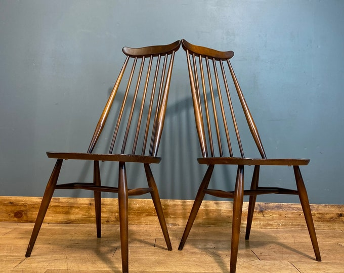 2x Ercol Goldsmith Dining Chairs / Mid Century / Ercol Chairs / Kitchen Chairs