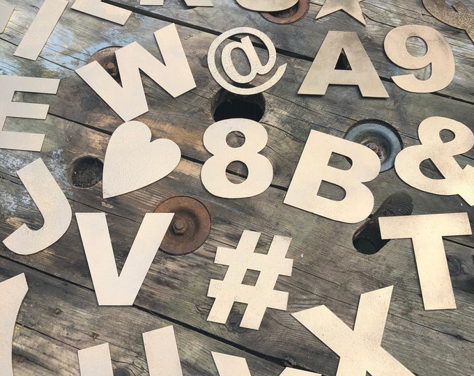 """Rustic 5"""" gold metal alphabet letters, A-Z, 0-9, initials, house name, lettering, barbers, bar, coffee shop, eat, numbers, home,  gin tea"""