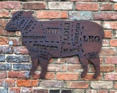 Large RUSTY METAL LAMB Sign , Metal Shop Home sign , garden Ornament Farmyard, Butchers cuts sign, Animal cuts Beef Bbq sign , kitchen sign