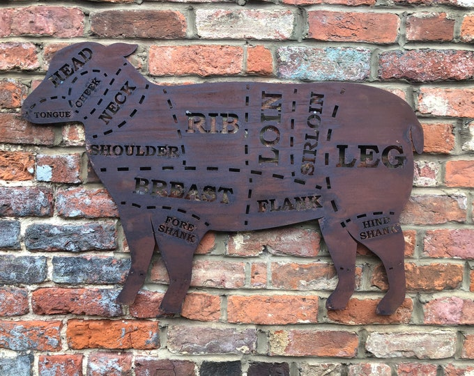 Large RUSTY METAL LAMB Sign , Metal Shop Home sign , garden Ornament Farmyard,  Butchers cuts sign, Animal cuts Beef Bbq sign , kitchen sign
