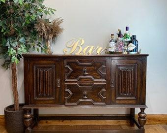 Antique Oak Sideboard/ Oak Buffet Server / Antique Tudor Oak Cupboard
